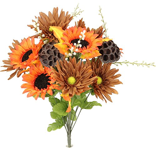 Admired By Nature GPB6409-OR/BROWN 14 Stems Artificial Sunflower, Gerbera Daisy And Lotus Root Mixed Flowers Bush For Home Office, Wedding, Restaurant Decoration Arrangement, ()