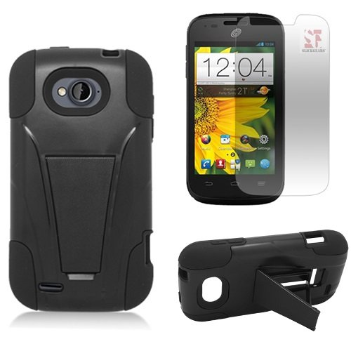 [SlickGearsTM] Heavy Duty Dual Layer Impact Armor Kickstand Case for ZTE Reef N810 aka ZTE AWE N800 (Virgin Mobile) ZTE Savvy Z750C (Straight Talk, Net10, TracFone) + Premium Screen Protector Combo (Black) (Virgin Mobile Awe Case compare prices)