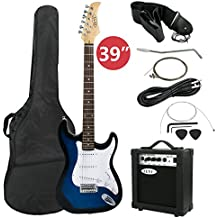 """ZENY 39"""" Full Size Electric Guitar with Amp, Case and Accessories Pack Beginner Starter Package, Blue Ideal Christmas Thanksgiving Holiday Gift"""
