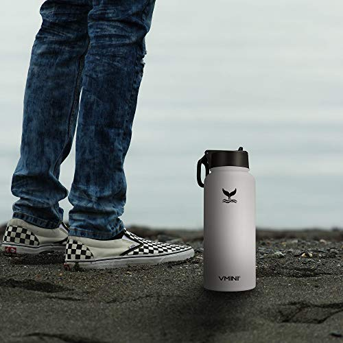 Wide Mouth Vacuum Insulated 1 Details about  /Vmini Water Bottle with New Wide Handle Straw Lid