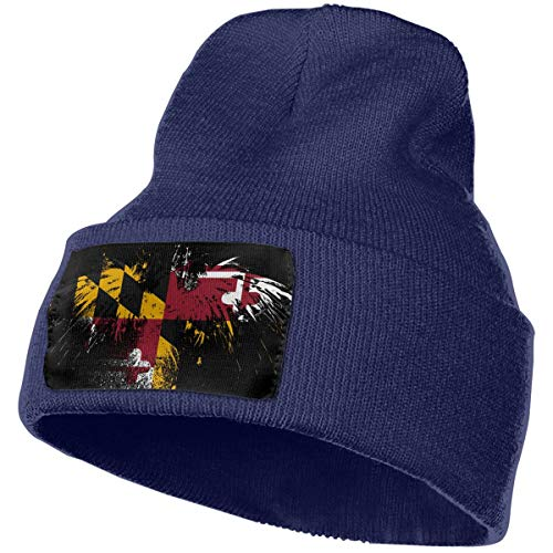 LIUYhat Maryland Flag Winter Beanie Hat Soft & Warm Chunky Skull Wool Knit Hats Cap for Men Women