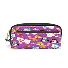 ALAZA Winter Polar Bear Fox Pencil Case Zipper PU Leather Pen Bag Cosmetic Makeup Bag Pen Stationery Pouch Bag Large Capacity