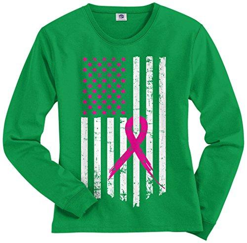 Pink Ribbon Green T-shirt (Threadrock Women's Pink Ribbon Breast Cancer Awareness Flag Long Sleeve T-Shirt L Kelly Green)