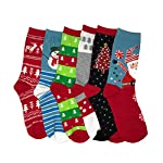 IS-6-Pairs-Crew-Socks-Printed-Fun-Colorful-Festive-Crew-Knee-Cozy-Socks-Women-Fancy-Christmas-Holiday-Design-Soft