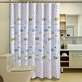 Designer Shower Curtains Fabric HOMEIDEAS Fish Designer,White Shower Curtain For Bathroom,Waterproof Polyester Fabric,72x72inch