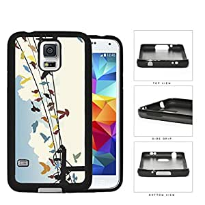 Colorful Birds on Sky Wire Line Hard Rubber TPU Phone Case Cover Samsung Galaxy S5 I9600
