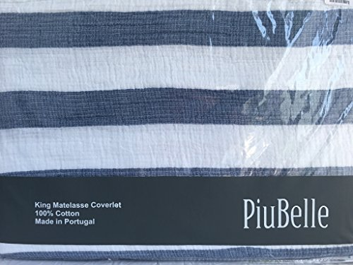 Piu Belle Blue and White Nautical Stripe 100% Cotton Coverlet (Queen) by Piu Belle