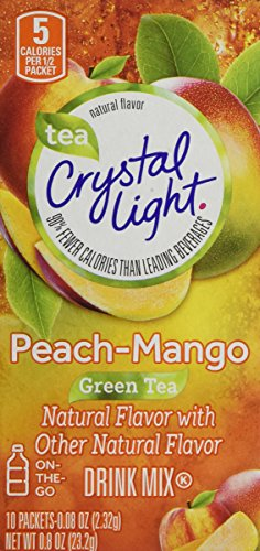 Crystal Light Green Tea Peach Mango Drink Mix On The Go 10-0.08 oz packets (6 Pack)