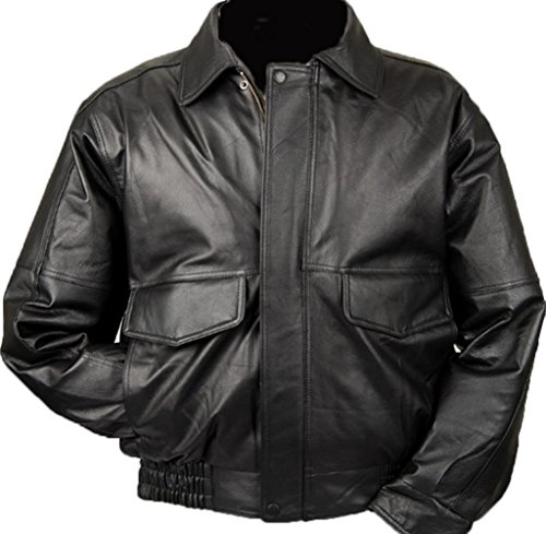 Burk's Bay Men's Napa Leather Flight Jacket XL Black - Bay Leather Jacket