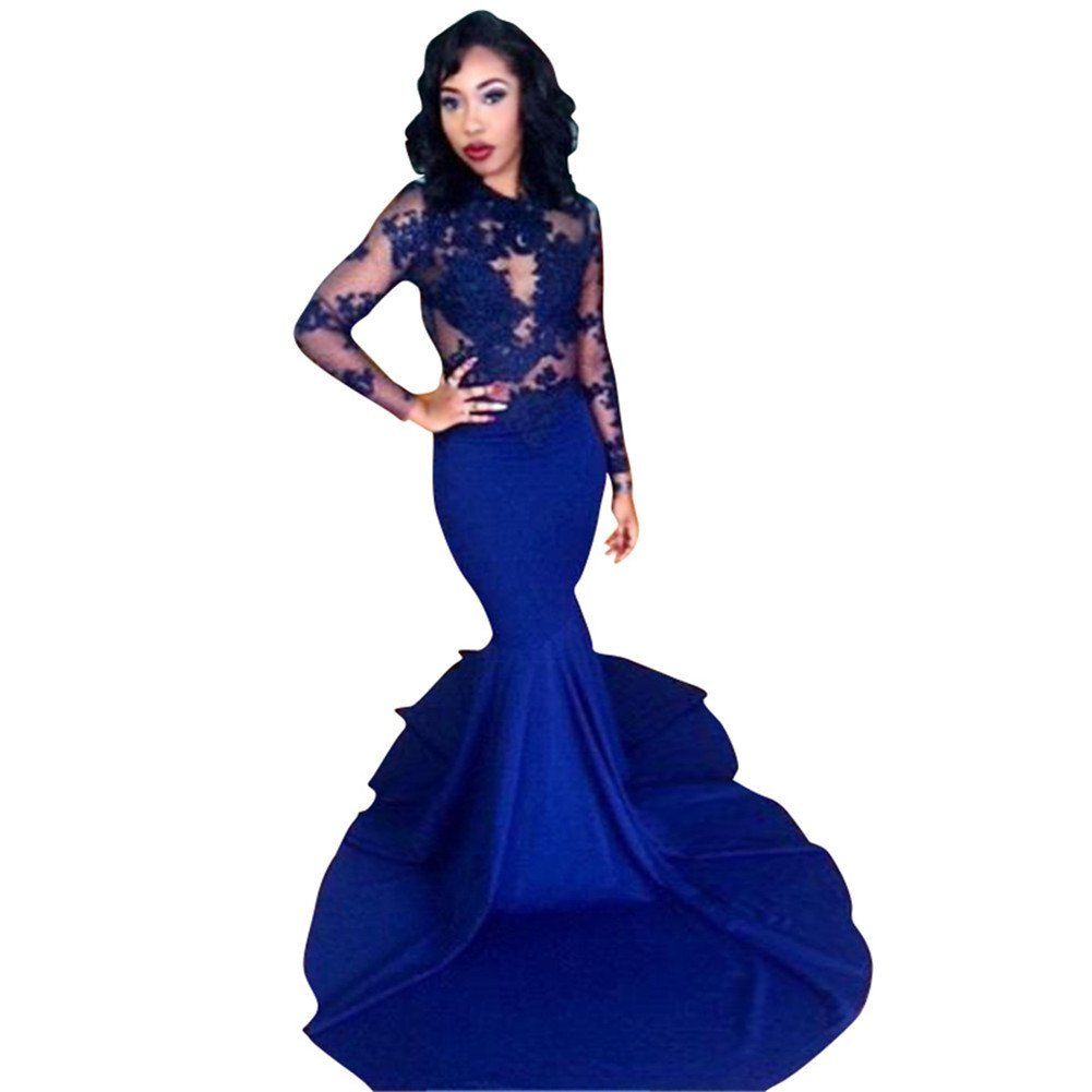 Changjie Women's Mermaid Long Sleeves Wedding Guest Dresses Lace Evening Gowns