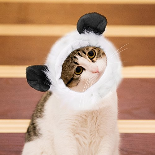 Pawaboo Pet Costume, Fancy Comfortable Fluffy Pet Dog Puppy Cat Panda Wig Hat Clothes Costume for Cosplay Halloween Christmas Festival Party Dressing Up, Black