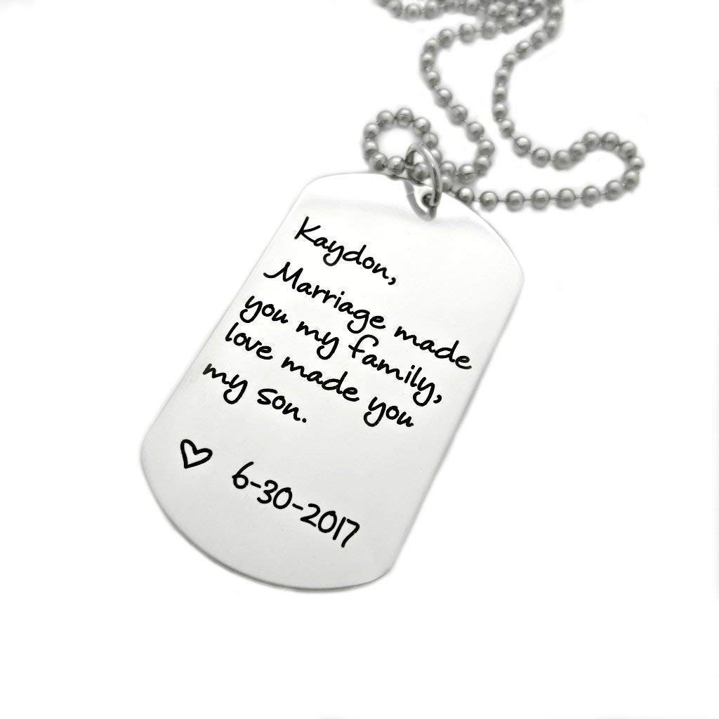 1394 Love Made You My Son//Daughter Dog Tag Necklace Personalized Wedding Gift Marriage Made You My Family