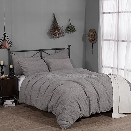 Rural Dandelion 100  Washed Cotton Duvet Cover Bedding Set  Healthy  Comfortable And Unique Style  King  Gray