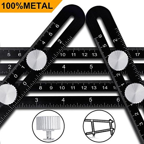 Multi Angle Measuring Ruler - CrazyLynX Premium Aluminum Alloy Easy Angle Ruler, Precise Angle Ruler Template Tool with FREE Protective Pouch, Great Gift for DIY Handymen Builders Carpenters Tilers (Present Christmas Ultimate Full The)