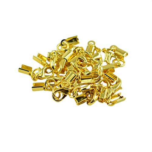Dovewill 12 Pieces Brass Lobster Claw Clasp Leather Fold Over Crimp Clip Ends Set Bracelet DIY Jewelry Making Findings Crafts - Gold - Gold Fold Over Clasp