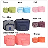 Hugesaving 6pcs Travel Organizers Packing Cubes Pouches Travel Storage Bag