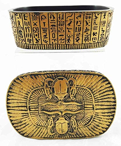 Egyptian Decor Scarab Ra Solar Amulet Hieroglyph Jewelry Box Trinket Collectible by Tuweep