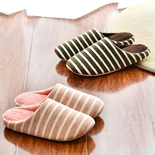 CWAIXXZZ pantofole morbide Autunno Inverno spesse pantofole di cotone piano pantofole donna indoor anti-slip case con un morbido fondo scarpe sulle strisce soggiorno scarpe ,M codice (per un 37-38 pie