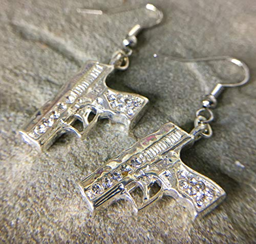 - Rhinestone Encrusted Hand Gun Earrings Law Enforcement Gift Thin Blue Line