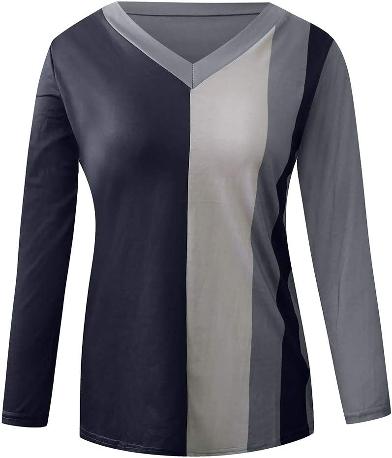 FraftO Stripe T Shirt Tops for Womens Casual Long Sleeve V Neck Sweatshirt Large Size Pullover Blouse S-5XL Navy