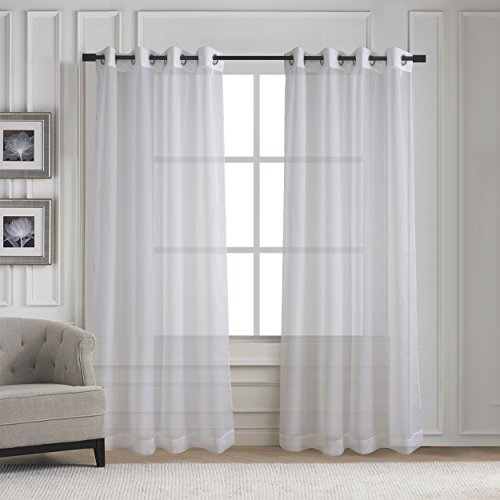 Home Deco Grommet Sheer Window Curtains   Elegant Solid Voile Panels For Living  Room   Aquazolax (2 Panels, W54 X L84 Inches, Off White) Part 37