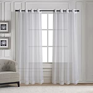 Home deco grommet sheer window curtains elegant solid voile panels for living room - Amazon curtains living room ...