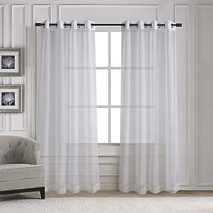Home Deco Grommet Sheer Window Curtains Elegant Solid Voile Pan