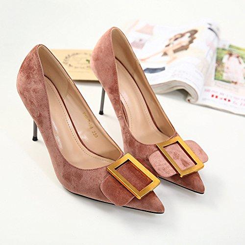 ZHZNVX La nueva mujer señaló zapatos de tacón alto zapatos de mujer fina con sandalias de hebilla cuadrada Light Brown