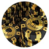 iPrint Funky Round Tablecloth [ Poker Tournament Decorations,Gold and Black Poker Chips Gambling Club Currency Stack Wager Decorative,Gold Black ] Home Accessories Set