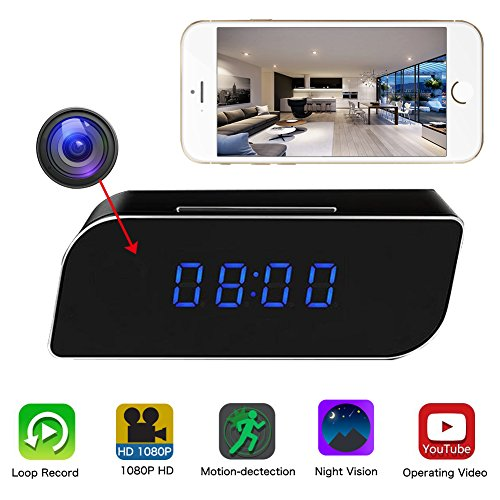 MG MOLGORE Clock Spy Camera, WiFi HD 1080P Mini Alarm Clock Desktop Camera Wireless IP Camera Cam 140°Night Vision Motion Detection & Home Security Baby Sitter Free Surveillance