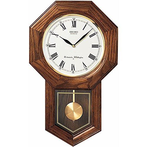 Seiko Wall Pendulum Schoolhouse Clock Dark Brown Solid Oak Case -  QXH102BC