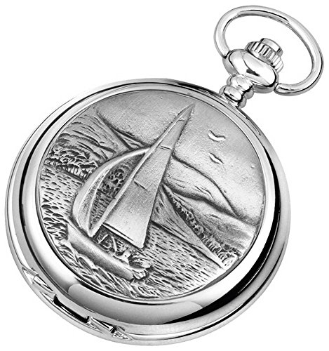 - Woodford Mens Sailing Chrome Plated Double Full Hunter Skeleton Pocket Watch - Silver