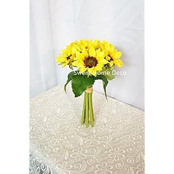 Amazon wedding silk flowers bridal bouquet yellow sunflower sweet home deco silk sunflower artificial flower bouquetflower boutonniere wedding flowers yellow 6 stem bouquet mightylinksfo