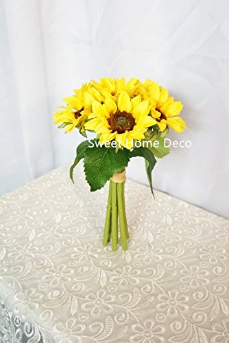 Sweet Home Deco Silk Sunflower Artificial Flower Bouquet/Flower Boutonniere Wedding Flowers (Yellow 6-Stem Bouquet)