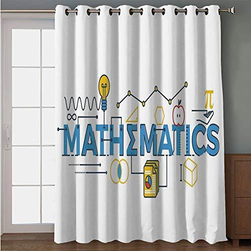 (iPrint Blackout Patio Door Curtain,Mathematics Classroom Decor,Stylized Mathematics Word Design Graphic Science Symbols Decorative,Blue Yellow Red,for Sliding & Patio Doors, 102