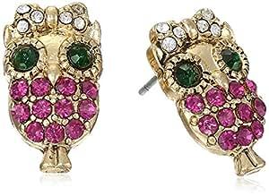 Betsey Johnson Women's Enchanted Forest Owl Stud Earrings Fuchsia Stud Earrings