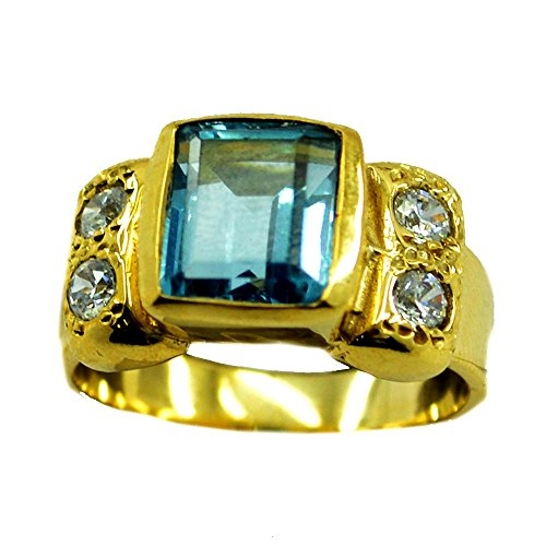 Blue Topaz CZ Gold Plated Ring For Women Gift December Birthstone Square Shape Size 5,6,7,8,9,10,11,12