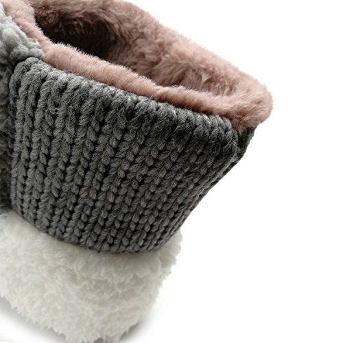 Caldo Stivali Donna Pantofola Di Cachemire Inverno Pelliccia Soffice Foderato Casa Interna Bootie Rosa Scuro