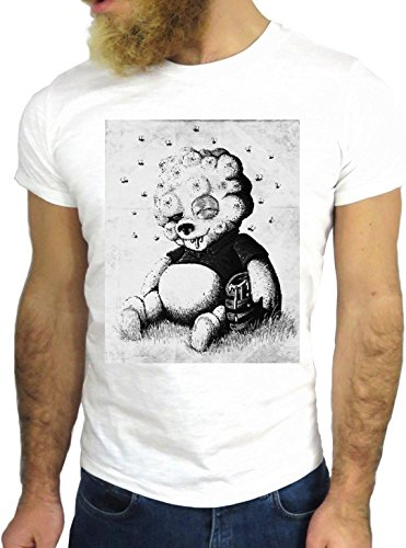 T-SHIRT JODE GGG24 Z0805 BEAR COOL VINTAGE ROCK FUNNY FASHION CARTOON NICE AMERICA BIANCA - WHITE S