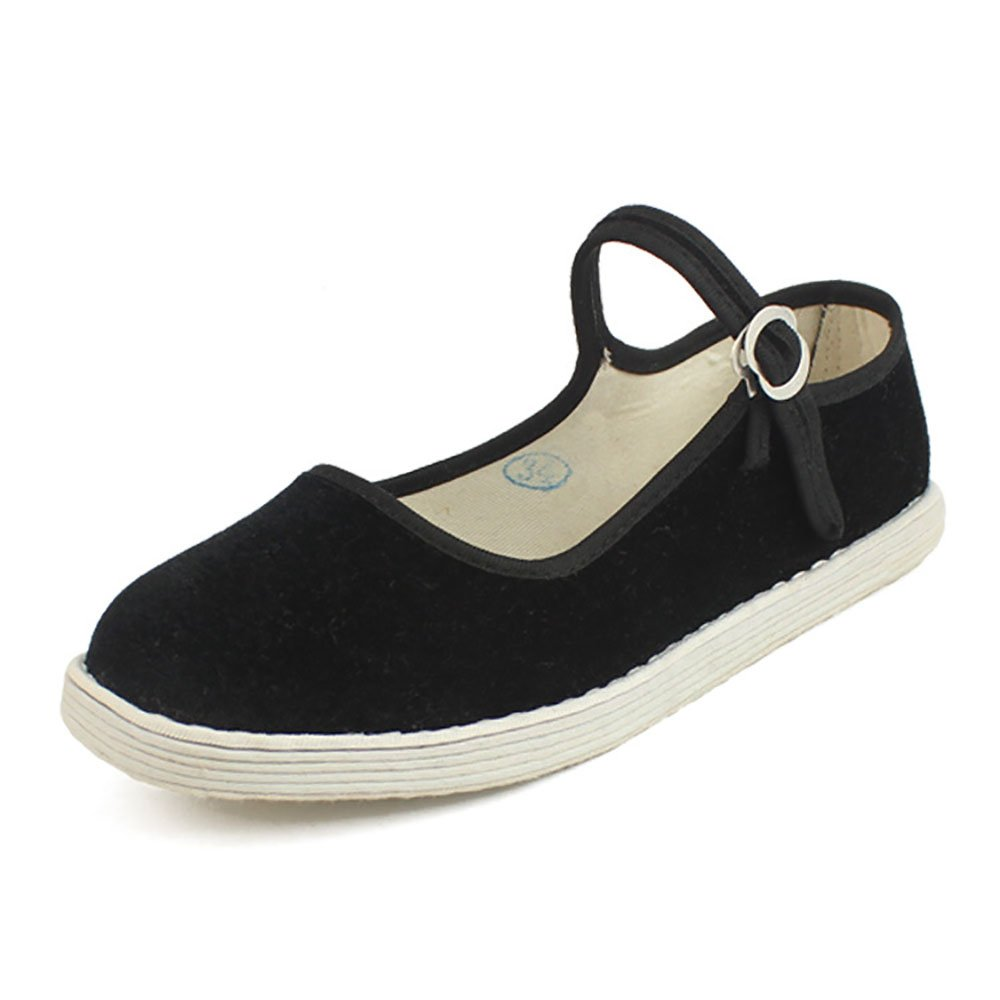 Wraith of East Adult Chinese Women Old Beijing Shoes Mary Jane Dance Flat Buckle Soft Cloth US 7