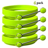 Silicone Egg Rings - FREE Spatula Included - Professional Non-Stick BPA-Free Silicone - Non Stick Mold Ring Round - GREEN (4 - PACK)
