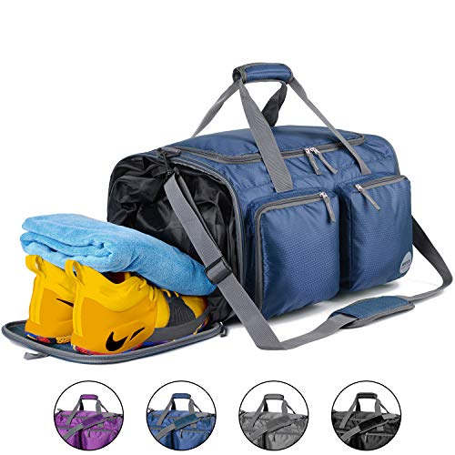 Foldable Sports Gym Bag with Wet Bag & Shoes Compartment, Travel Duffel for Men and Women (Navy Blue)