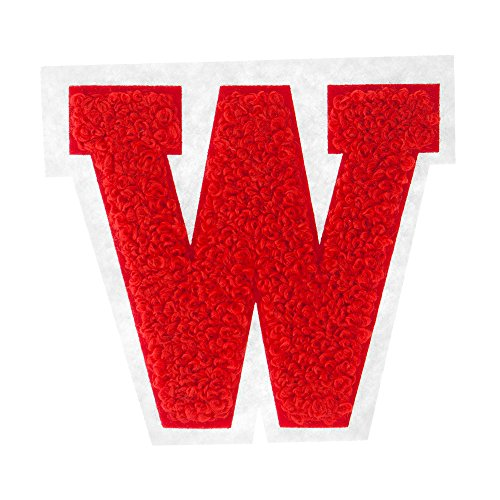 W - Red on White - 2.5 Inch Heat Seal Chenille Varsity Letter Letter Jacket Letters