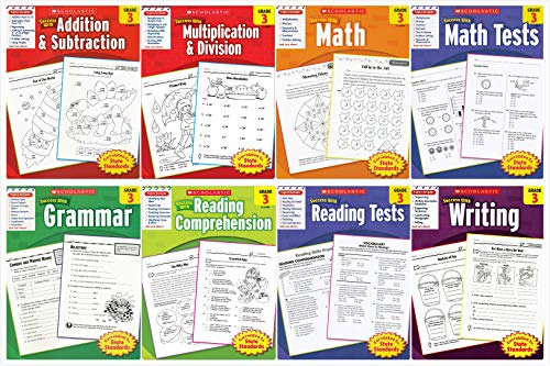 Scholastic Success With - Grade 3 Complete Set (8 books): Addition&Subtraction 3, Multiplication&Division 3, Math 3, Math Tests 3, Grammar 3, Reading Comprehension 3, Reading Tests 3 and Writing 3 ()