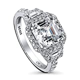 BERRICLE Rhodium Plated Sterling Silver Cubic Zirconia CZ Halo Art Deco Engagement Ring Size 9.5