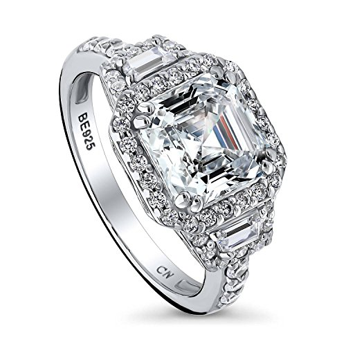 (BERRICLE Rhodium Plated Sterling Silver Asscher Cut Cubic Zirconia CZ Halo Art Deco Engagement Ring 3.75 CTW Size 10)