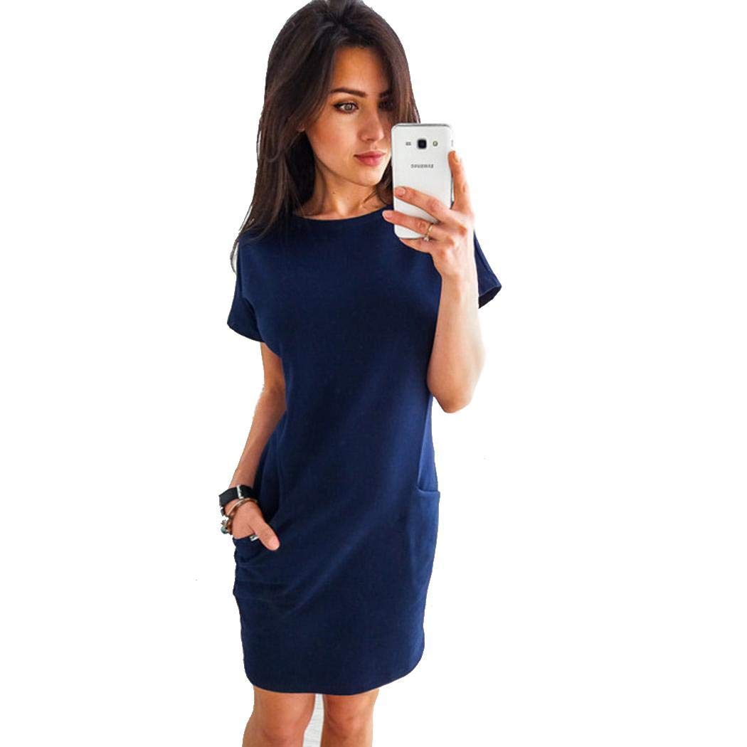 ffb8d6542 Oudiya Women Casual Solid O-Neck Short Sleeve Pockets Dress Casual Royal  Blue