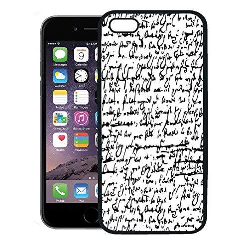 (Semtomn Phone Case for iPhone 8 Plus case,Pattern Shakespeare William Text Handwrite London Script iPhone 7 Plus case Cover,Black)