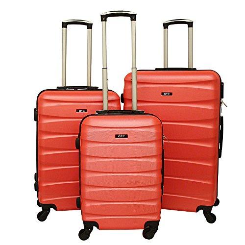 Hartschalen Reisekoffer QTC MAILAND A Trolley Case M L XL Reise Tasche Koffer (M (Handgepäck), Neonorange)