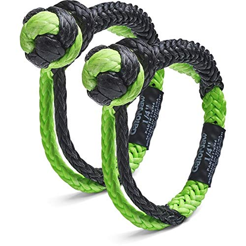 Bubba Rope Gator-Jaw Pro Synthetic Soft Shackle (11,000LB Breaking Strength Green & Black (2)) by Bubba Rope